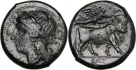 Greek Italy. Central and Southern Campania, Neapolis. AE 20 mm, 275-250 BC. D/ Head of Apollo left, laureate. R/ Man-headed bull right; above, Nike fl...
