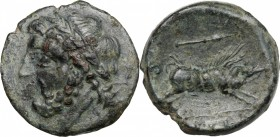 Greek Italy. Northern Apulia, Arpi. AE 21 mm, 325-275 BC. D/ Head of Zeus left, laureate. R/ Boar right; above, spear head. HN Italy 642. AE. g. 7.33 ...