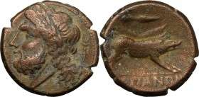 Greek Italy. Northern Apulia, Arpi. AE 22 mm, 325-275 BC. D/ Head of Zeus left, laureate; behind, thunderbolt. R/ Boar right; above, spear-head. HN It...