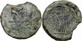 Greek Italy. Northern Apulia, Ausculum. AE 19 mm, c. 240 BC. D/ Head of Herakles left, wearing lion's skin. R/ Nike standing right, attaching taenia t...