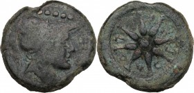 Greek Italy. Northern Apulia, Luceria. AE Quincunx, c. 211-200 BC. D/ Head of Minerva right, wearing Corinthian helmet; above, five pellets. R/ Wheel ...