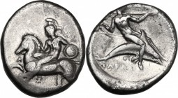 Greek Italy. Southern Apulia, Tarentum. AR Nomos, circa 380-345 BC. D/ Nude warrior vaulting from horse prancing left, holding small round shield; bef...