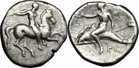 Greek Italy. Southern Apulia, Tarentum. AR Nomos, 332-302 BC. D/ Horseman right, holding whip. R/ Phalantos riding on dolphin left, holding kantharos;...