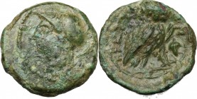 Greek Italy. Bruttium, The Brettii. AE Sixth, 214-211 Bc. D/ Head of Athena left, helmeted. R/ Owl standing right, head facing; to right, cornucopiae ...