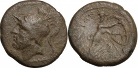 Greek Italy. Bruttium, The Brettii. AE Double, 211-208 BC. D/ Head of Ares left, helmeted; below, thunderbolt. R/ Athena moving right, holding spear a...