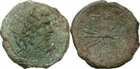 Greek Italy. Bruttium, Vibo Valentia. AE As, circa 193-150 BC. D/ Laureate head of Zeus right; I behind. R/ Thunderbolt; to left, Nike right, holding ...