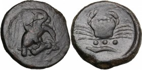 Sicily. Akragas. AE Tetras, end of 5th century-406 BC. D/ Eagle on hare right. R/ Crab: below, three pellets and crayfish left. CNS I, 54. AE. g. 10.2...