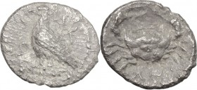 Sicily. Akragas. AR Obol, before 413 BC. D/ Eagle standing left. R/ Crab. SNG Cop. 47-51. AR. g. 0.51 mm. 9.00 Toned. About VF.