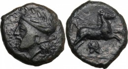 Sicily. Entella. Campanian mercenaries. AE 19 mm, before 404 BC. D/ Head of bearded male left, wearing helmet decorated with wreath. R/ Horse gallopin...