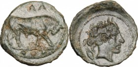 Sicily. Gela. AE Tetras, 420-405 BC. D/ Bull right; in exergue, three pellets. R/ Head of river god right, horned; behind, grain. CNS III, 17. AE. g. ...