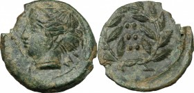 Sicily. Himera. AE Hemilitron, before 407 BC. D/ Head of nymph left; before, six pellets. R/ Six pellets within laurel wreath. CNS I, 35. SNG ANS 186....