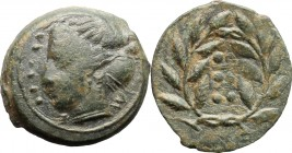 Sicily. Himera. AE Hemilitron, before 407 BC. D/ Head of nymph left; before, six pellets. R/ Six pellets within wreath. CNS I 35. SNG ANS 186. AE. g. ...