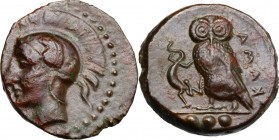 Sicily. Kamarina. AE Tetras, 425-405 Bc. D/ Head of Athena left, helmeted. R/ Owl standing left, head fancing, wings closed, holding lizard; in exergu...