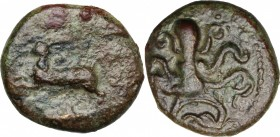 Sicily. Messana. AE 17 mm, 406-396 BC. D/ Hare leaping left. R/ Octopus. CNS I, 3. AE. g. 5.16 mm. 17.00 About VF/Good F.