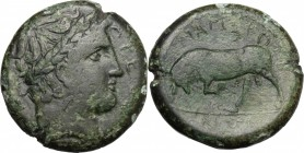 Sicily. Messana. Mamertinoi. AE Quadruple, 288-78 BC. D/ Head of Ares right, laureate. R/ Bull butting left. CNS I, 1. AE. g. 15.86 mm. 26.00 Green pa...