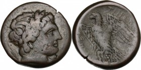 Sicily. Messana. Mamertinoi. AE Quadruple, 288-278 BC. D/ Head of Ares right, laureate. R/ Eagle standing left on thunderbolt, wings open. CNS I, 3. A...