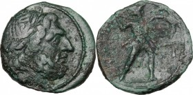 Sicily. Messana. Mamertinoi. AE Pentonkion, 211-208 BC. D/ Head of Zeus right, laureate. R/ Warrior advancing right, holding spear and shield. CNS I, ...