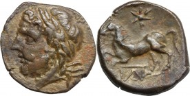 Sicily. Panormos. AE 17 mm, 3rd century BC. D/ Head of Zeus left, laureate. R/ Horse galloping left; above, star; below, monogram. CNS I, 61. AE. g. 3...