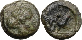 Sicily. Segesta. AE Hexas, 416-415 BC. D/ Head of nymph Segesta right. R/ Hound right; above and below, pellet. CNS I, 39. AE. g. 6.58 mm. 18.00 Olive...
