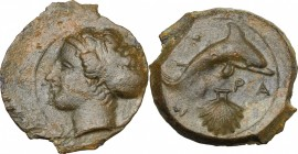 Sicily. Syracuse. End of Second Democracy and Dionysos I. AE Hemilitron, after 410 BC. D/ Head of nymph Arethusa left. R/ Dolphin right; below, cockle...