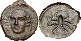 Sicily. Syracuse. Dionysios I (405-367 BC). AE Tetras, c. 405 BC. D/ Head of Arethusa three-quarter to left. R/ Octopus. CNS II, 29; SNG ANS 385; HGC ...