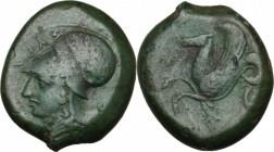 Sicily. Syracuse. Dionysios I (405-367 BC). AE Hemilitron. D/ Head of Athena left, wearing helmet decorated with olive-wreath. R/ Hippocamp left. CNS ...