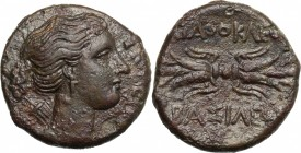 Sicily. Syracuse. Agathokles (317-289 BC). AE 22 mm. D/ Head of Artemis Soteira right; on shoulder, quiver. R/ Thunderbolt. CNS II, 138. AE. g. 8.83 m...