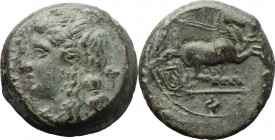 Sicily. Syracuse. Fourth democracy (c. 289-287 BC). AE 21 mm. D/ Head of Kore left, wearing wreath; behind, poppy head. R/ Nike driving galloping biga...