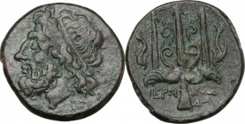 Sicily. Syracuse. Hieron II (274-216 BC). AE 19 mm. D/ Head of Poseidon left, wearing taenia. R/ Ornamented trident; on either side, dolphin. CNS II, ...