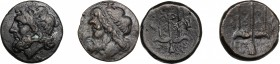 Sicily. Syracuse. Hieron II (274-216 BC). Lot of two (2) AE coins, c. 263-218 BC. D/ Head of Poseidon left, wearing taenia. R/ Ornamented trident head...