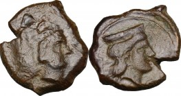 Sicily. Thermai Himerenses. AE 16 mm, 407-406 BC. D/ Head of Herakles right, wearing lion's skin. R/ Head of Hera right, wearing broad stephane. CNS I...