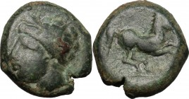 Punic Sicily. AE 16 mm, late 4th-early 3rd century BC. D/ Head of Tanit left, wearing wreath. R/ Horse prancing right. SNG Cop. 95. AE. g. 5.68 mm. 16...
