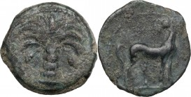 Punic Sicily. AE Half Shekel, Uncertain Punic mint. Circa 300 BC. D/ Palm tree with two date clusters. R/ Horse standing right, head left. MAA 22; CNP...