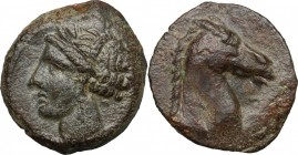 Punic Sardinia. AE 20 mm, 300-264 BC. D/ Head of Tanit left, wearing wreath. R/ Head of horse right, to right, Punic letter. SNG Cop. 151. CNP 252f. A...