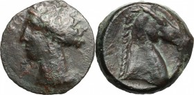 Punic Sardinia. AE 19 mm, 300-264 BC. D/ Head of Tanit left, wearing wreath. R/ Head of horse right. SNG Cop. 144-166. AE. g. 4.89 mm. 19.00 VF.