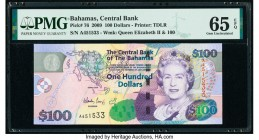 Bahamas Central Bank 100 Dollars 2009 Pick 76 PMG Gem Uncirculated 65 EPQ.   HID09801242017  © 2020 Heritage Auctions | All Rights Reserve