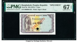 Bangladesh Peoples Republic 1 Taka ND (1973) Pick 6s Specimen PMG Superb Gem Unc 67 EPQ. Cancelled with one punch hole.   HID09801242017  © 2020 Herit...