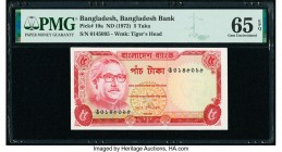 Bangladesh Bangladesh Bank 5 Taka ND (1972) Pick 10a PMG Gem Uncirculated 65 EPQ. Staple holes at issue.   HID09801242017  © 2020 Heritage Auctions | ...