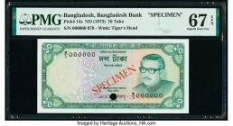 Bangladesh Bangladesh Bank 10 Taka ND (1973) Pick 14s Specimen PMG Superb Gem Unc 67 EPQ. Cancelled with one punch hole.   HID09801242017  © 2020 Heri...