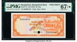 Bangladesh Bangladesh Bank 50 Taka ND (1976) Pick 17s Specimen PMG Superb Gem Unc 67 EPQ S. Cancelled with one punch hole.   HID09801242017  © 2020 He...