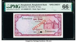 Bangladesh Bangladesh Bank 10 Taka ND (1978) Pick 21s Specimen PMG Gem Uncirculated 66 EPQ. Cancelled with one punch hole.  HID09801242017  © 2020 Her...