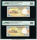 Bangladesh Error Pair Bangladesh Bank 50 Taka 2003; 2004 Pick 41a; 41b PMG Gem Uncirculated 65 EPQ; Gem Uncirculated 66 EPQ. A consecutive pair with d...