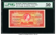 Bermuda Bermuda Government 10 Shillings 1.5.1957 Pick 19b PMG About Uncirculated 50.   HID09801242017  © 2020 Heritage Auctions | All Rights Reserve