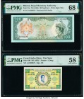 Bhutan Royal Monetary Authority 100 Ngultrum ND (1986) Pick 18a PMG Superb Gem Unc 68 EPQ. French Indochina Institut d'Emission des Etats, Vietnam 1 P...