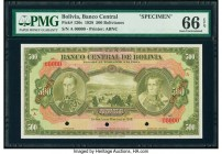 Bolivia Banco Central 500 Bolivianos 20.7.1928 Pick 126s Specimen PMG Gem Uncirculated 66 EPQ. Three POCs; red Specimen overprints.  HID09801242017  ©...