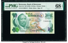 Botswana Bank of Botswana 10 Pula ND (1976) Pick 4b PMG Superb Gem Unc 68 EPQ.   HID09801242017  © 2020 Heritage Auctions | All Rights Reserve