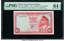 Brunei Government of Brunei 10 Ringgit 1967 Pick 3a KNB3 PMG Choice Uncirculated 64 EPQ.   HID09801242017  © 2020 Heritage Auctions | All Rights Reser...