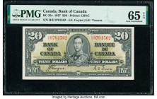 Canada Bank of Canada $20 2.1.1937 Pick 62c BC-25c PMG Gem Uncirculated 65 EPQ.   HID09801242017  © 2020 Heritage Auctions | All Rights Reserve