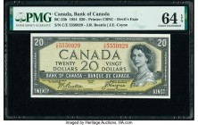 "Canada Bank of Canada $20 1954 Pick 70b BC-33b ""Devil's Face"" PMG Choice Uncirculated 64 EPQ.   HID09801242017  © 2020 Heritage Auctions 