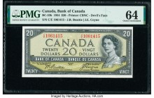 "Canada Bank of Canada $20 1954 Pick 70b BC-33b ""Devil's Face"" PMG Choice Uncirculated 64.   HID09801242017  © 2020 Heritage Auctions 